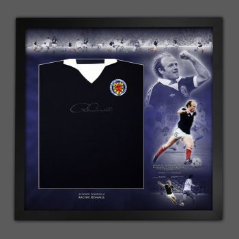 Archie Gemmill Signed Front Scotland Football Shirt In A Framed Picture Mount Display