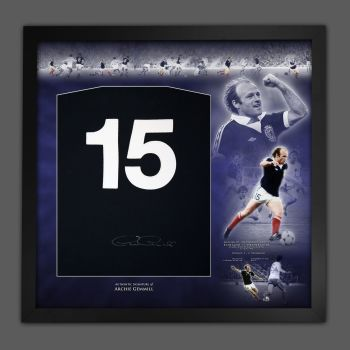 Archie Gemmill Back Signed Scotland Football Shirt In A Framed Picture Mount Display