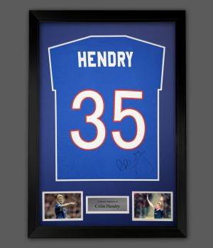 Colin Hendry Hand Signed Blue Player T-Shirt In A Framed Presentation