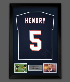 Colin Hendry Hand Signed Navy Blue Player T-Shirt In A Framed Presentation