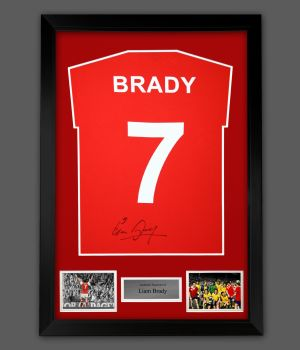 Liam Brady Hand Signed Red Player  T-Shirt In A Framed Presentation