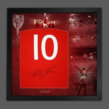 Geoff Hurst Hand Signed And  Framed  Red Player T-Shirt In A Picture Mount Display