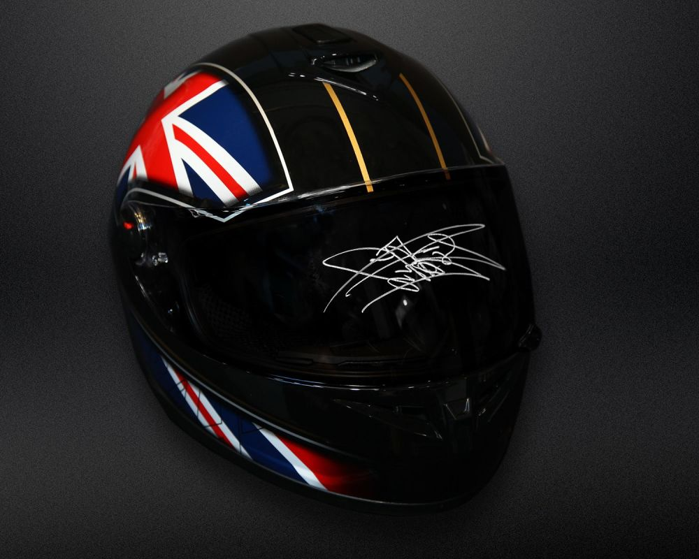 Carl Fogarty Hand Signed Full Size  Motorbike Helmet Dark Visor