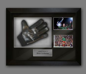 Bruce Grobbelaar Signed Football Goalkeeper Glove In A Framed Presentation