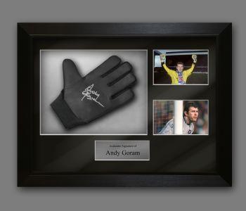 Andy Goram Rangers Fc Signed Football Goalkeeper Glove In A Framed Presentation