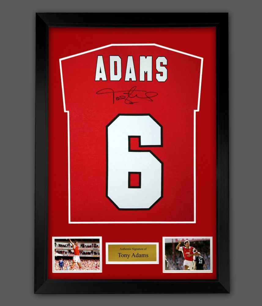 Tony Adams Hand Signed Red Player T- Shirt  In A Framed Presentation : A :