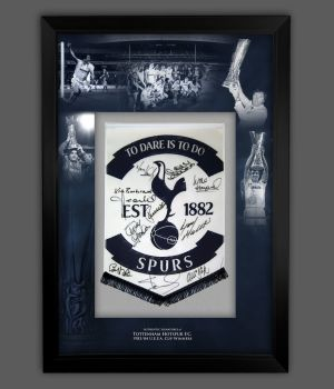 Spurs 1984 Hand Signed And Framed Pennant In A Picture Mount Display