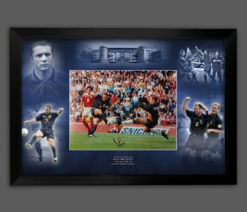 Ally McCoist Hand Signed Scotland 12x16 Football Photograph In A Framed Picture Mount Display