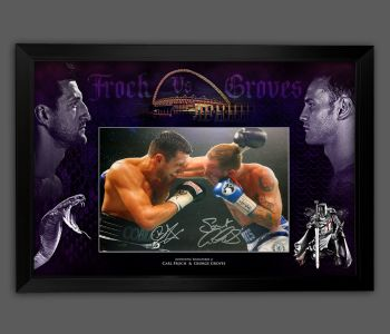 Carl Froch And George Groves Dual Hand Signed  Boxing 12x16 Football Photograph In A Framed Picture Mount Display
