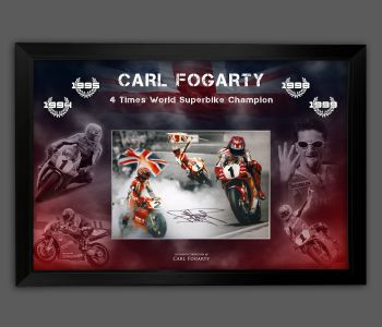 Carl Fogarty Hand Signed Superbikes 12x16 Photograph In A Framed Picture Mount Display  : A