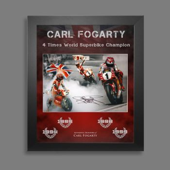 Carl Fogarty Hand Signed Superbikes 12x16  Photograph In A Framed Picture Mount Display  : B