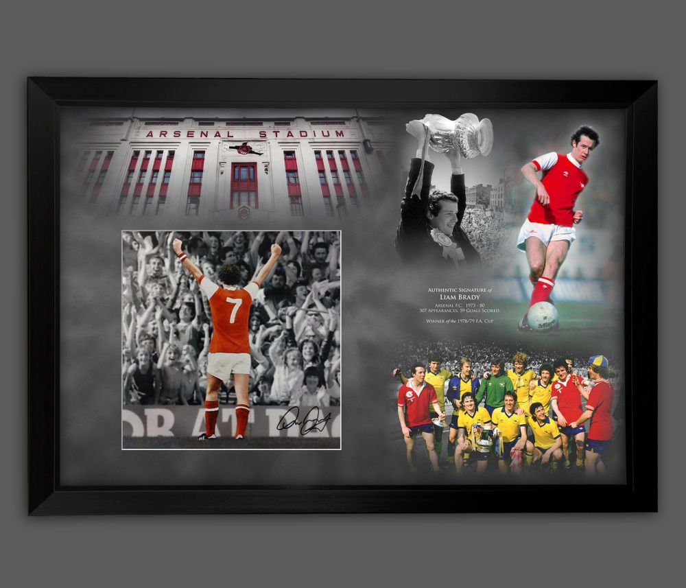 Liam Brady Signed And Framed 12x16 Arsenal Football  Photograph  In A Pi