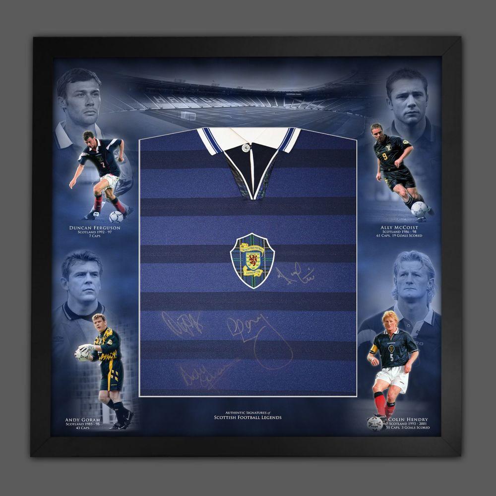 Scotland Legends  Hand Signed Football Shirt In Framed Mount Picture Disp