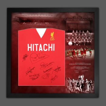 Liverpool 1977 Football Shirt In A Framed Mount Picture Display, Signed by 10 Players : Star Deal