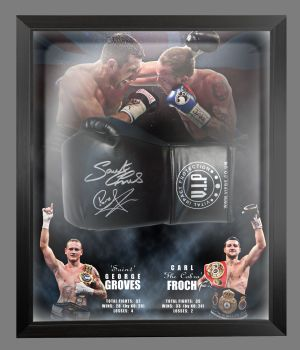 Carl Froch And George Groves Dual Signed Black Boxing Glove In A Picture Mount Dome Frame: Star Deal