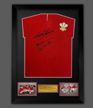 Wales Rugby Legends Phil Bennett, Gareth Edwards And JPR Williams Hand Signed Shirt  In A framed Display : Star deal