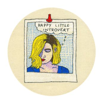 Happy Little Introvert Fine Art Greetings Card, Printed on 350gsm Silk White Card, FSC Certified. 6in x 6in