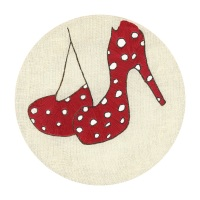 Red Shoes Fine Art Greetings Card, Printed on 350gsm Silk White Card, FSC Certified. 6in x 6in