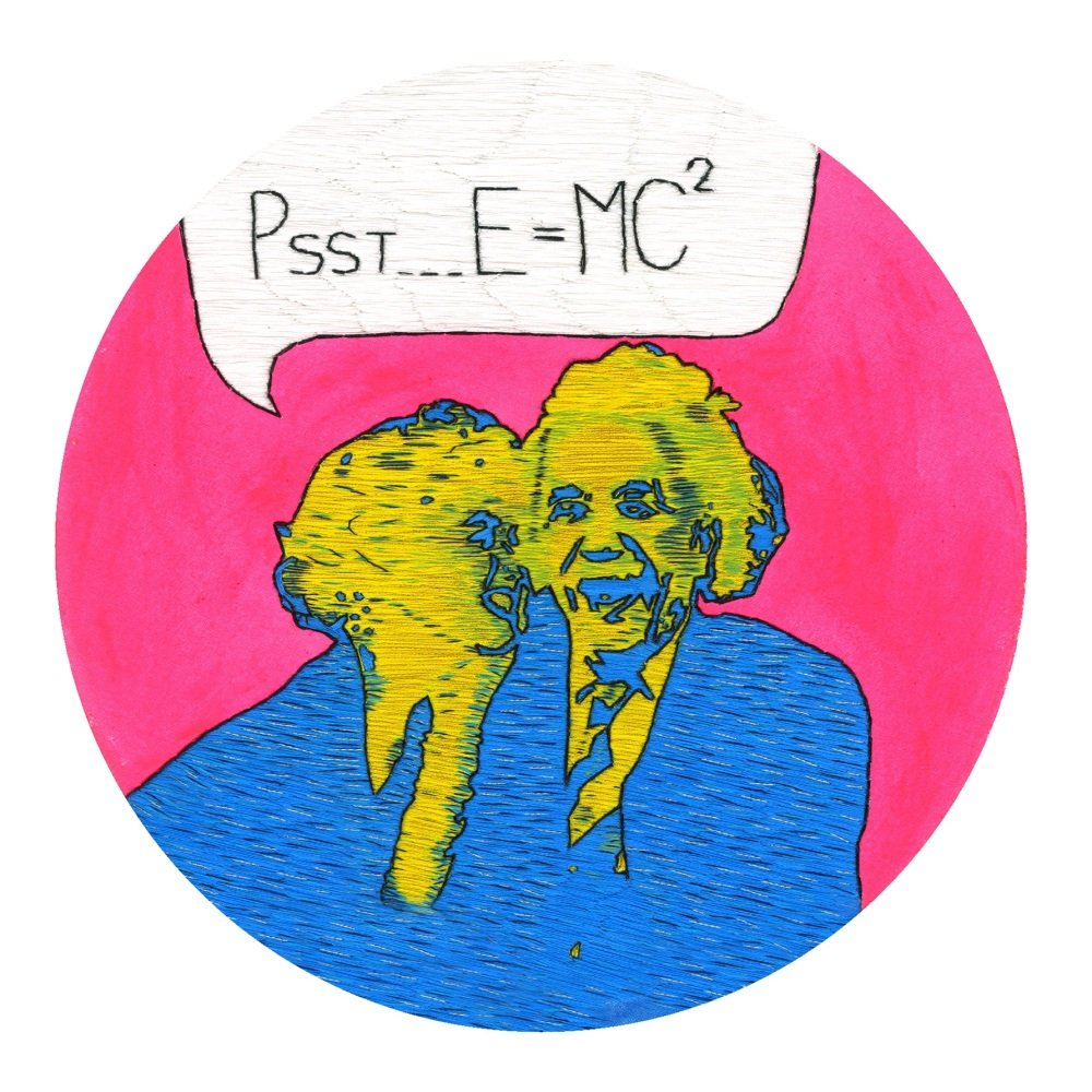 Psst E = Mc² Fine Art Greetings Card, Printed on 350gsm Silk White Card, FS