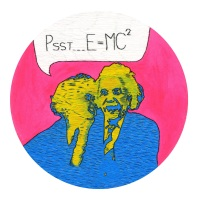 Psst E = Mc² Fine Art Greetings Card, Printed on 350gsm Silk White Card, FSC Certified. 6in x 6in Fine Art Blank Card