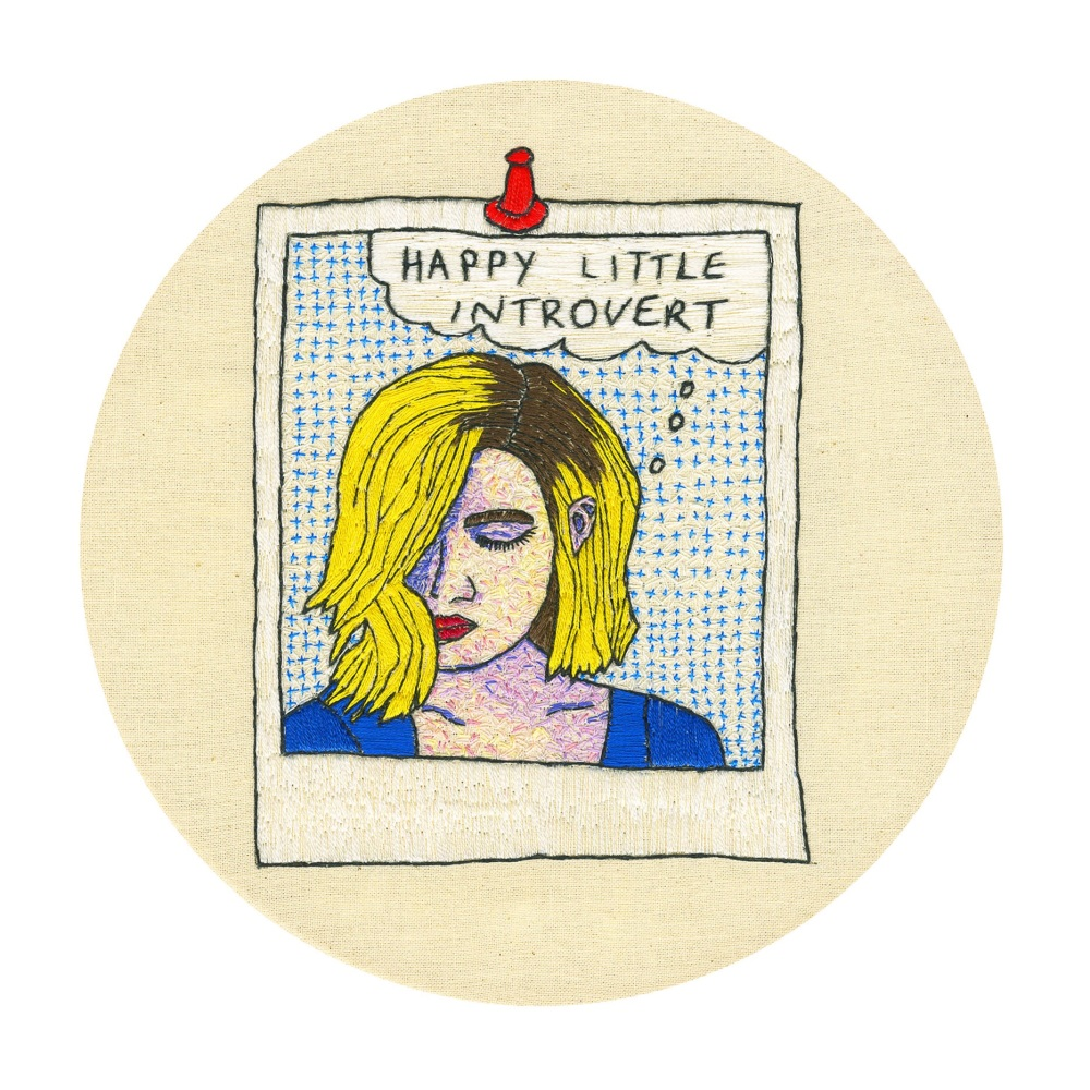 Happy Little Introvert Original Framed Embroidery