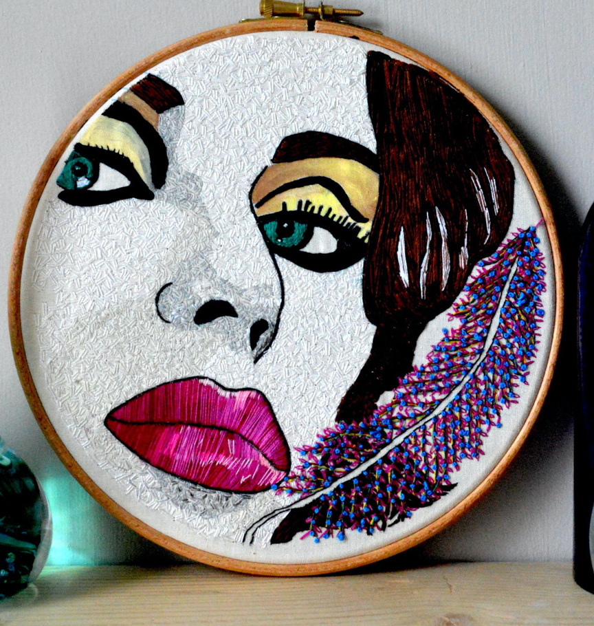 Feather In Your Hair Original Hand Embroidery