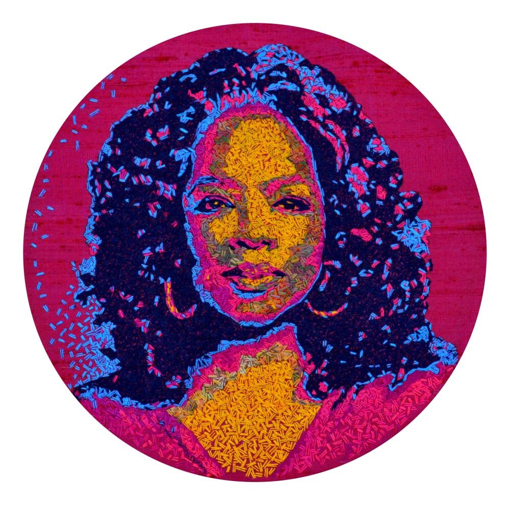 Oprah  Fine Art Greetings Card, Printed on 350gsm Silk White Card, FSC Certified. 6in x 6in