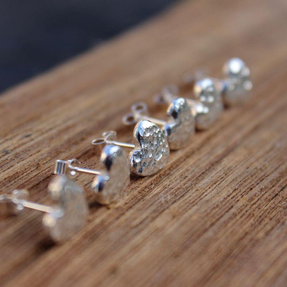 Hammered Heart Stud Earrings (medium)