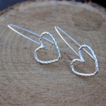 Diamond Twist Heart Drop Earrings