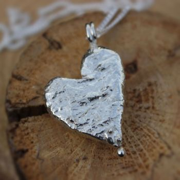 Recycled Silver Solid Heart Necklace with ball