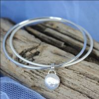 Double Bangle (Polished/Satin) with Nugget