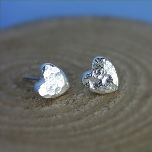 Small Hammered Heart Stud Earrings