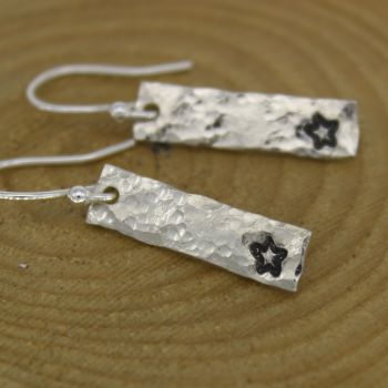 Hammered Drop Earrings, Hand stamped with a Star