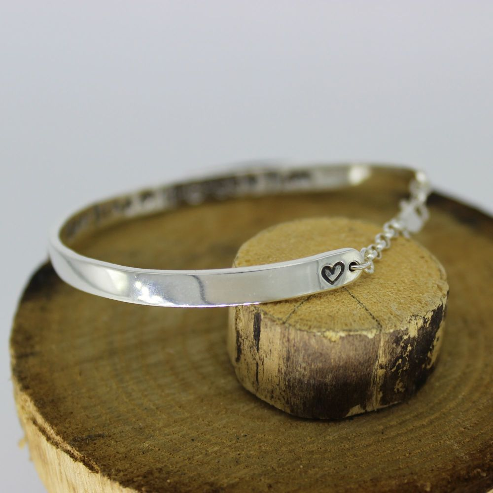 Believe Bangle - personalised on two sides with safety chain