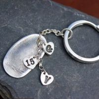 Fingerprint Keyring with sterling silver split ring