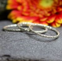 Twisted Diamond Cut Stacking Rings, set of three