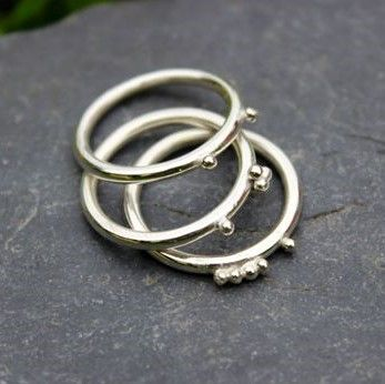 Silver Ball Stacking Rings