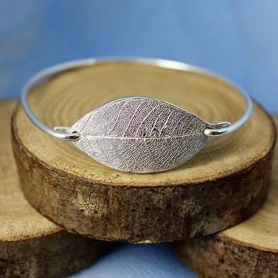 Silver Leaf Bangle