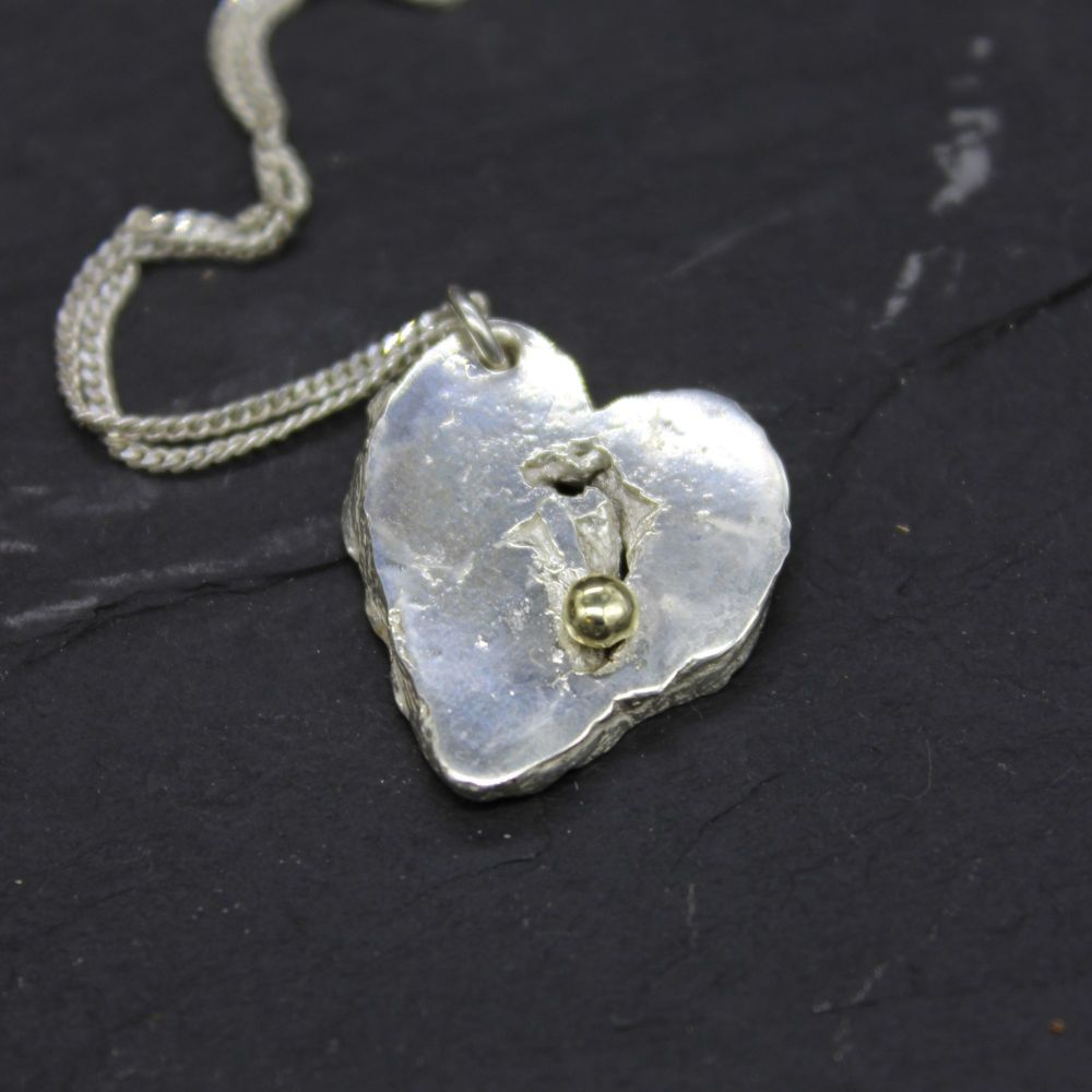 Heart Pendant with Gold Ball