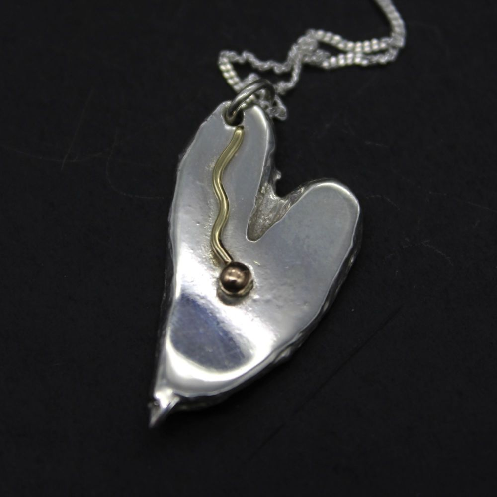 Heart Pendant embellished with 9ct Gold Wire & Ball