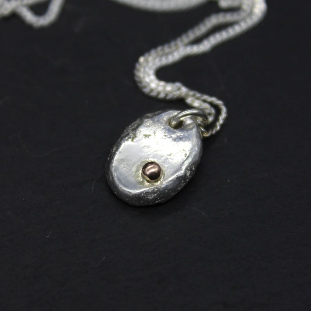 Baby Oval Pendant embellished with 9ct Gold Ball