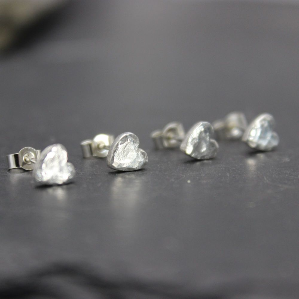 Hammered Heart Stud Earrings (small)