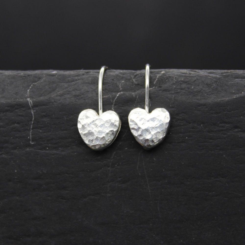 Hammered Heart Drop Earrings