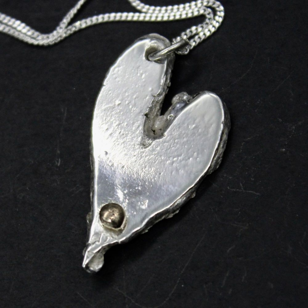 Large Heart Pendant embellished with 9ct Gold Ball