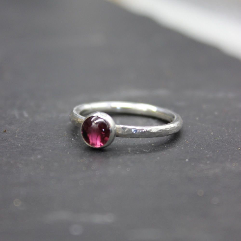 Hammered Silver Ring with Rhodolite Garnet