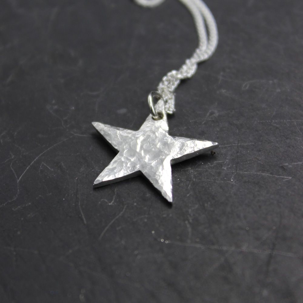 Hammered Star Necklace - personalised on the back