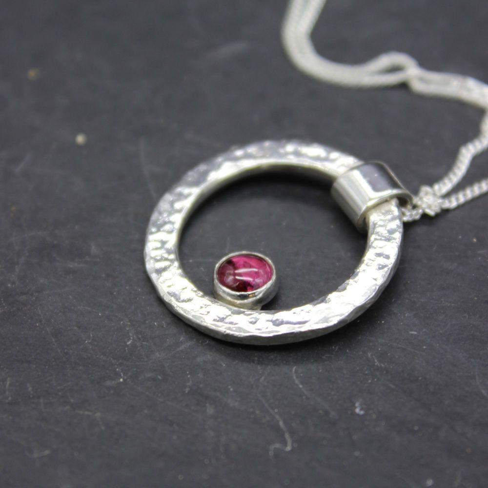 Hammered Circle Necklace with Rhodolite Garnet