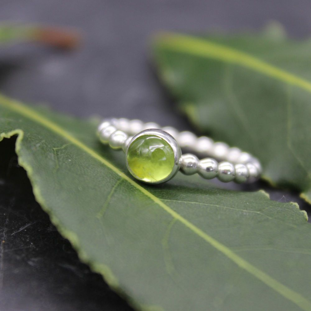 Bubble Stacking Ring with Peridot