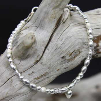 Bea Bracelet/Anklet - Sterling Silver & Clear Seed Beads