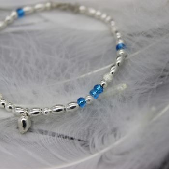 Bea Bracelet/Anklet - Sterling Silver & Turquoise Seed Beads
